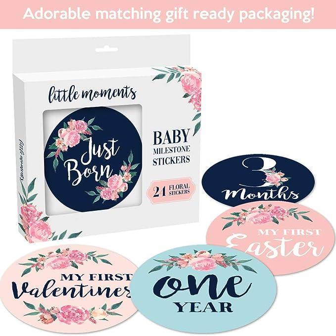 Amazon.com: Pegatinas para bebé con diseño floral y texto en ...