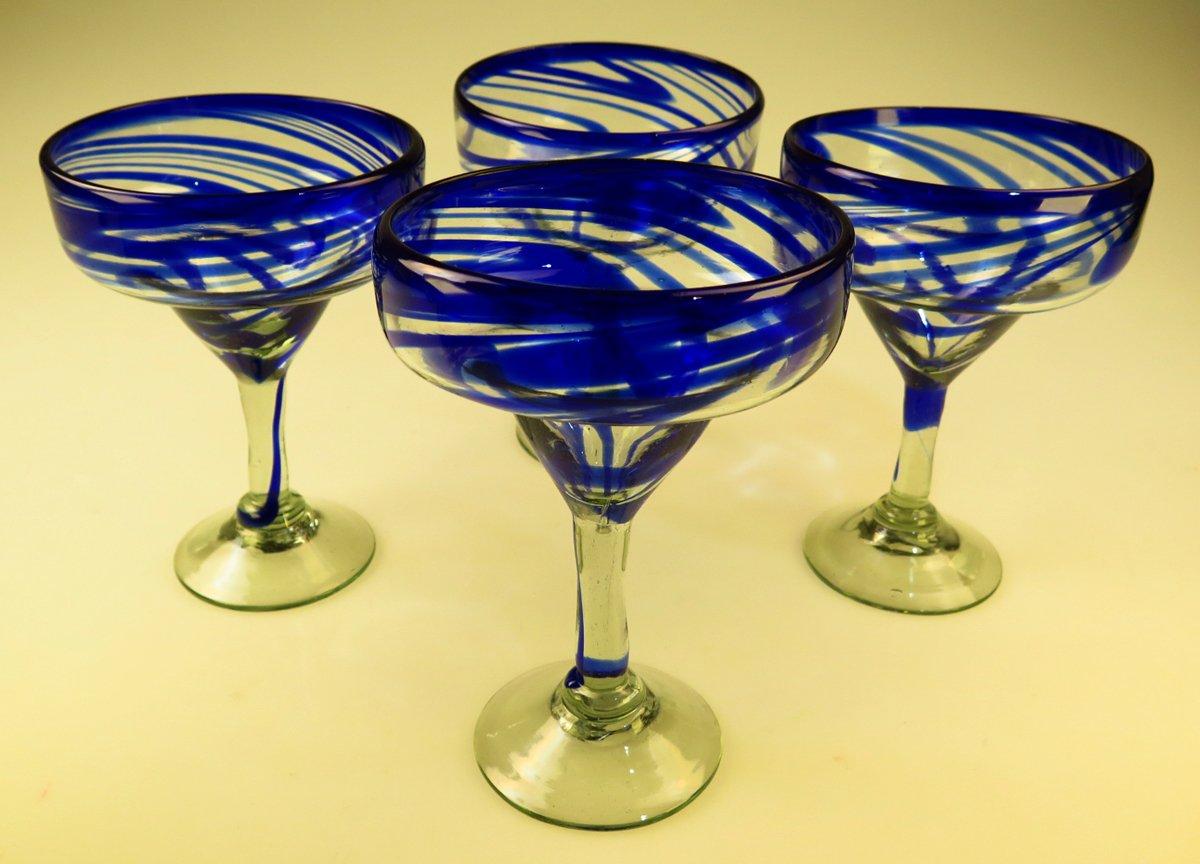 Mexican Glass Margarita Blue Swirl 4 by Mexican Margarita Glasses