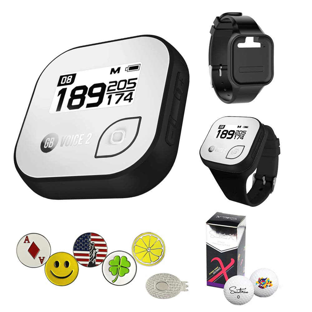 Golf Buddy Voice 2 Golf GPS/Rangefinder Bundle with Wrist Band, 5 Ball Markers, 1 Magnetic Hat Clip and Saintnine 2 Ball Sleeve by AMBA7