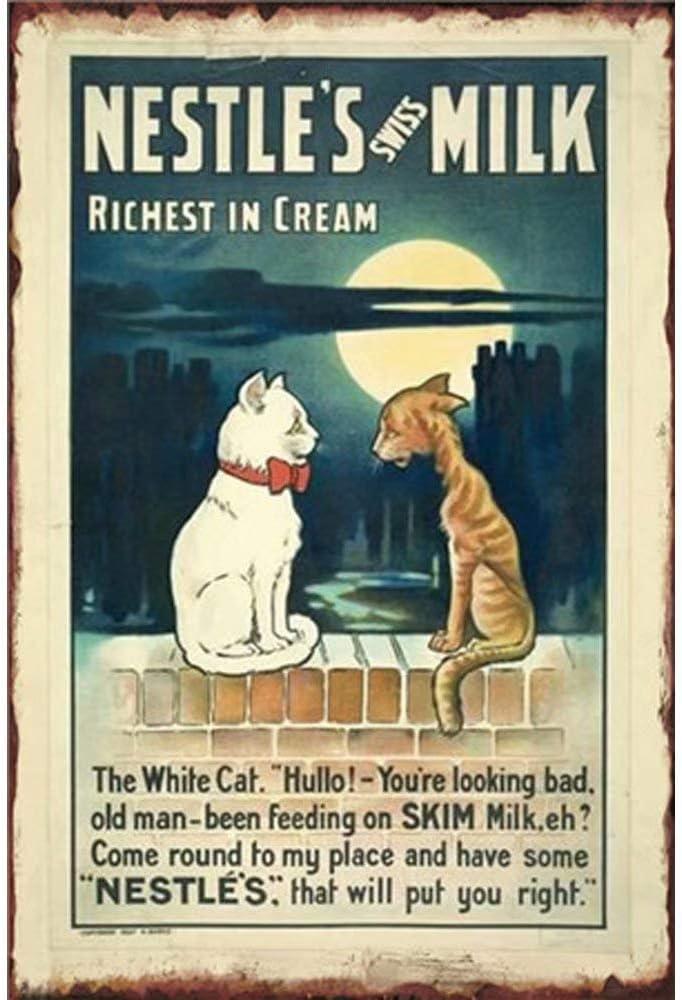 Shunry Nestles Milk Placa Cartel Vintage Estaño Signo Metal De ...