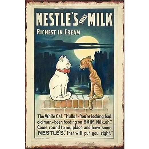 Shunry Nestles Milk Placa Cartel Vintage Estaño Signo Metal ...