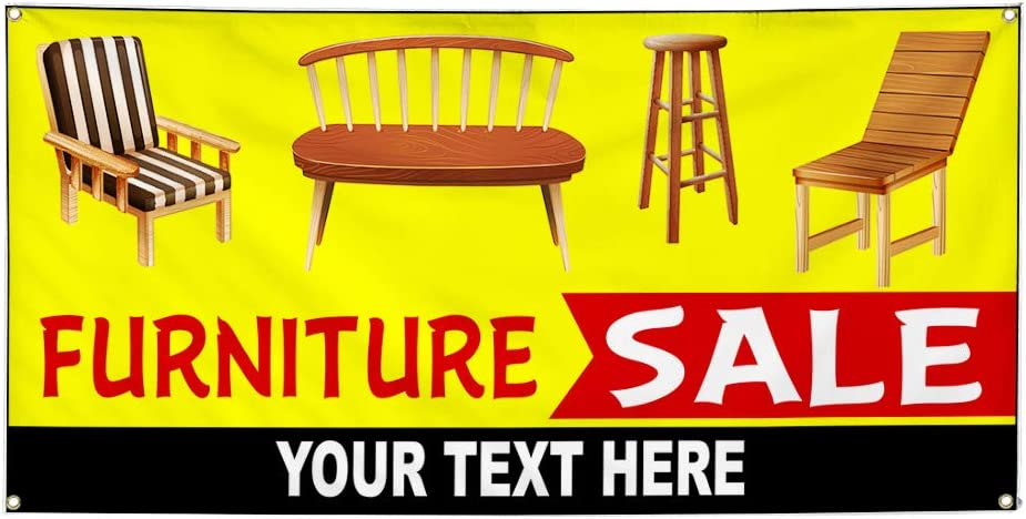 Custom Industrial Vinyl Banner Multiple Sizes Furniture Sale Style E Personalized Text Here Retail Outdoor Weatherproof Yard Signs Yellow 10 Grommets 48x120Inches