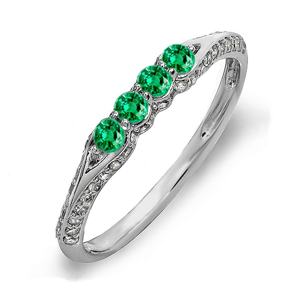 Dazzlingrock Collection 14K Round Emerald & White Diamond Ladies Stackable Anniversary Wedding Band, White Gold, Size 7.5