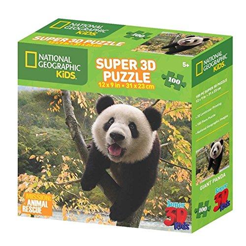 National Geographic Super 3D Kids 100 Pc 3D Puzzle - Ages 5+ - 12'' x 9'' - Panda Design
