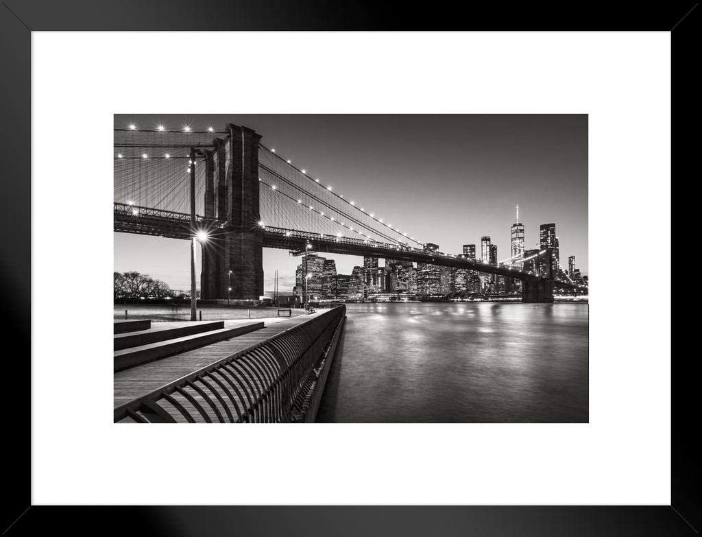 Poster Foundry Brooklyn Bridge Park Boardwalk Lower Manhattan East River Black White Photo Matted Framed Wall Art Print 26x20 inch