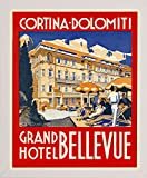 Cortina-Dolomiti, Grand Hotel Bellevue Print 20.73''x16.72'' by Print Collection in a Affordable White Medium