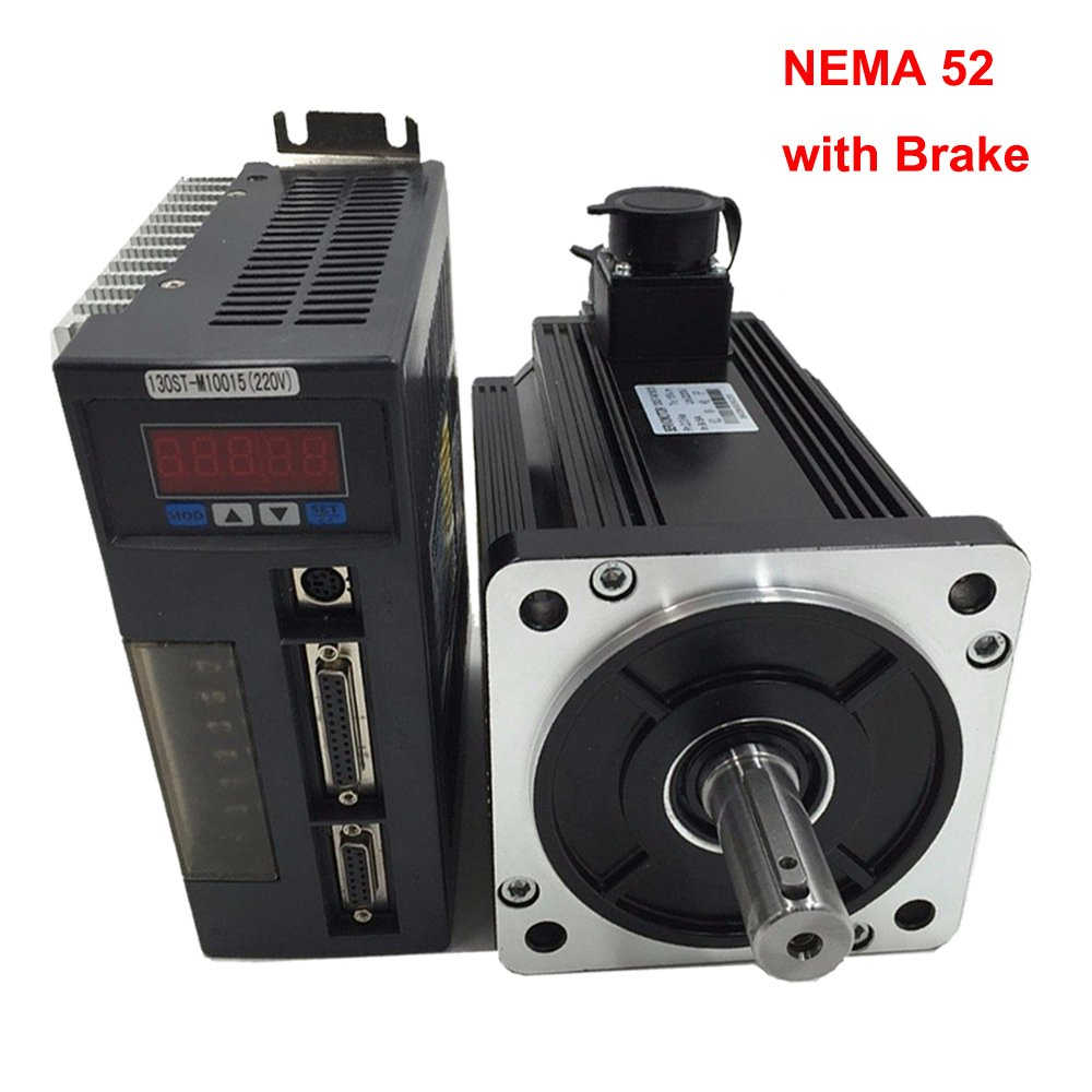 NEMA52 130mm AC Servo Motor System Servo Motor Drive Kit 1.5KW 10Nm 220v 1500r/min 130ST-M10015 (with Brake) by TOAUTO