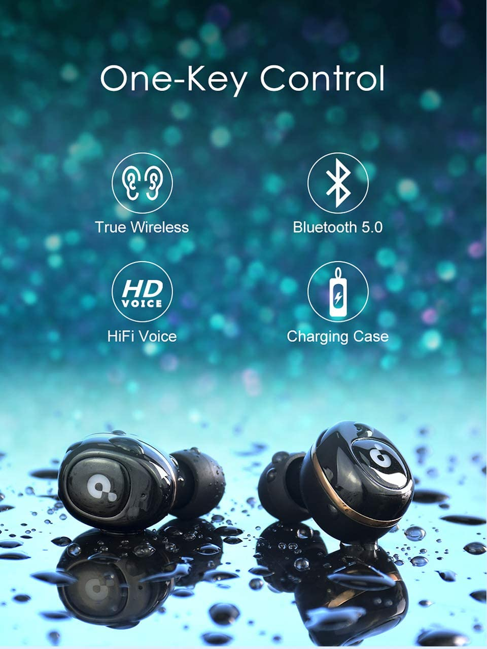 True Wireless Earbuds, Update Bluetooth Sport Earphone with Charging Case, Auto Power on Pairing, Stereo Headphone, IPX4 Waterproof, iOS Android Support, BlueWow A5 – Black