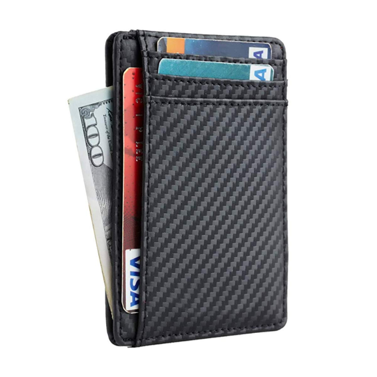 Black RFID Blocking Credit Card Holder for Men Women Front Pocket Minimalist Leather Slim Wallets