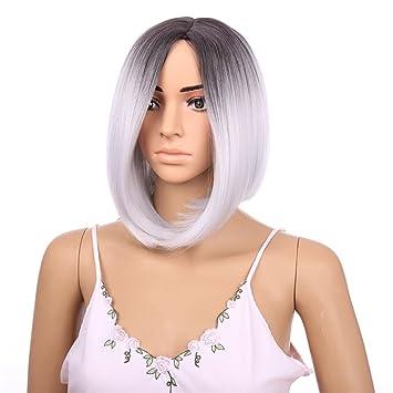 """OKEH 12"""" Ombre 2 tonos cortos pelucas sintéticas recta gris oscuro raíces mujeres Natural resistente"""