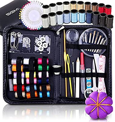 SGM Mini Art Sewing Kit with 120 Pieces including Bag, Thread Reels, Thimble, Scissors, Pin Cushion, etc; in Zippered PU Leather Case, Compact, Light Weight, Durable as Travel Kit Emergency DIY Sew