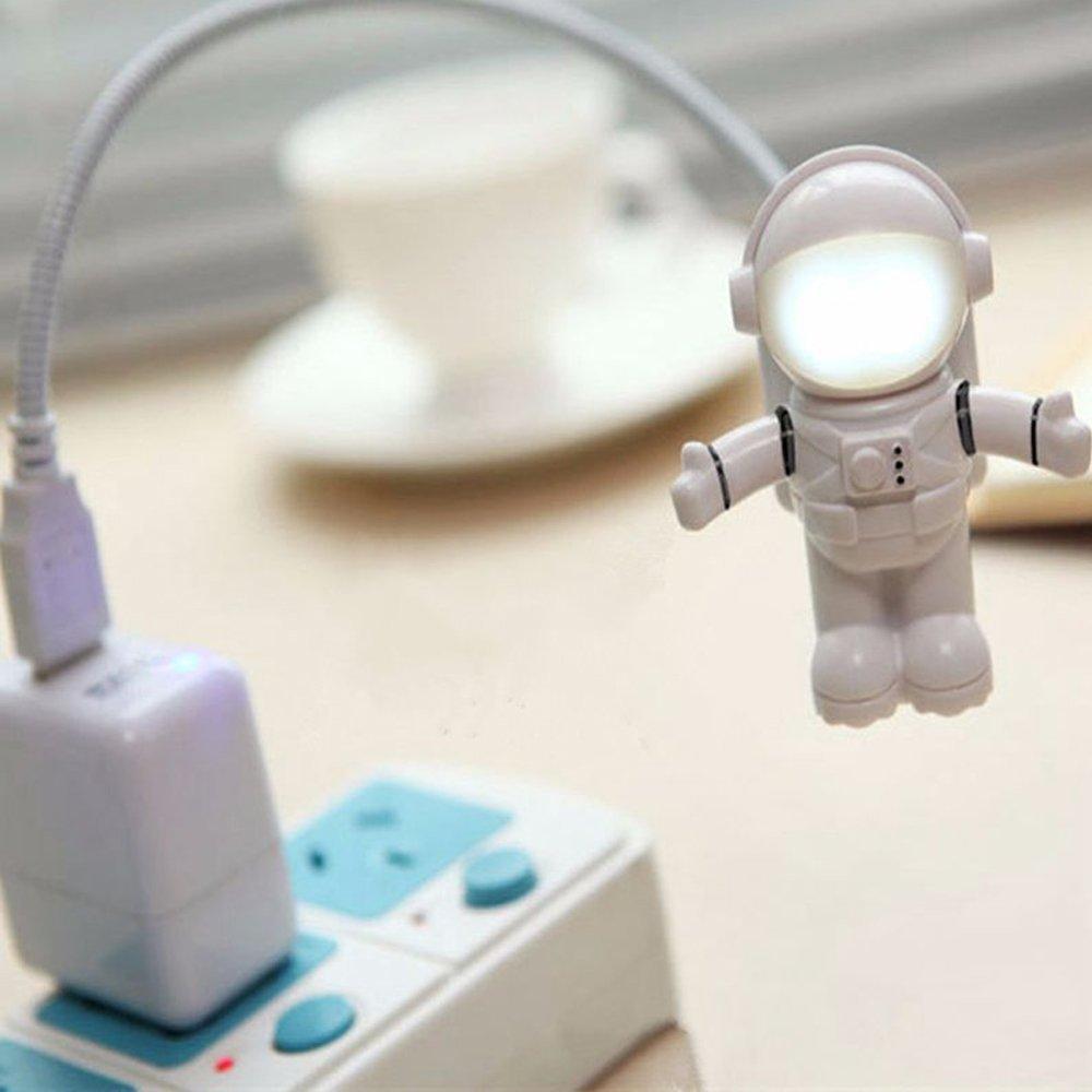 Alotm Creative Spaceman Astronaut LED Flexible USB Light for Laptop PC Notebook Computer Mini Funny Desktop USB Night Light With Adjustable Tube