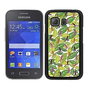 Funda carcasa para Samsung Galaxy Young 2 estampado hojas con ranas rosa borde negro