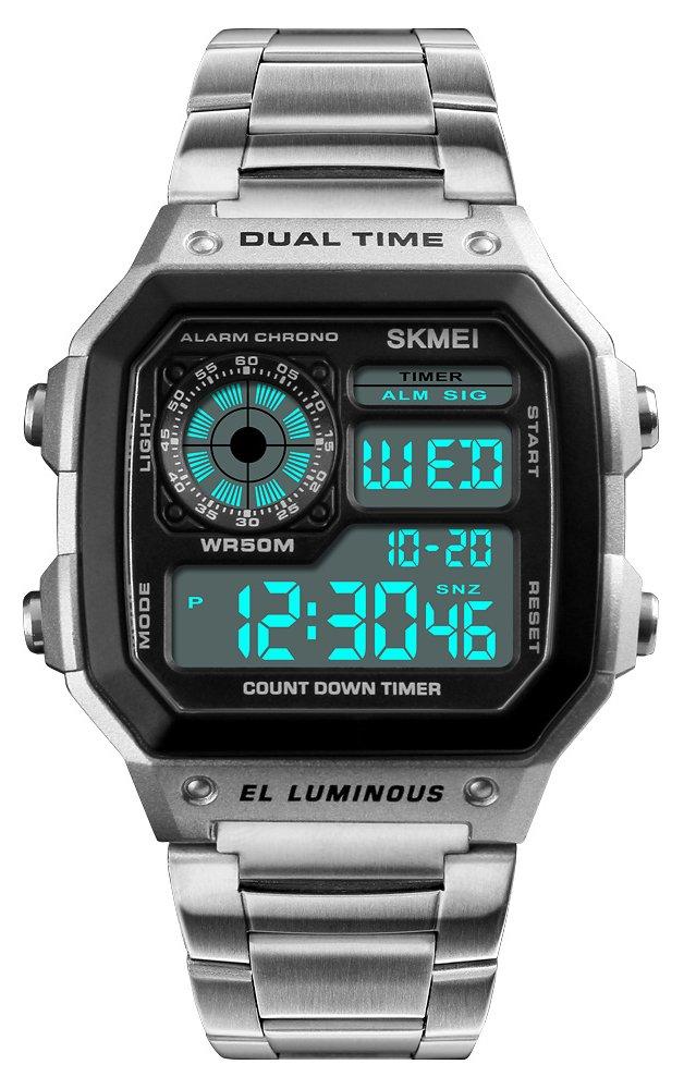 メンズ多機能長方形LED防水時計デュアル時間ゾーンカウントダウンスポーツクォーツストップウォッチ シルバー B07CK9XHGK シルバー シルバー -
