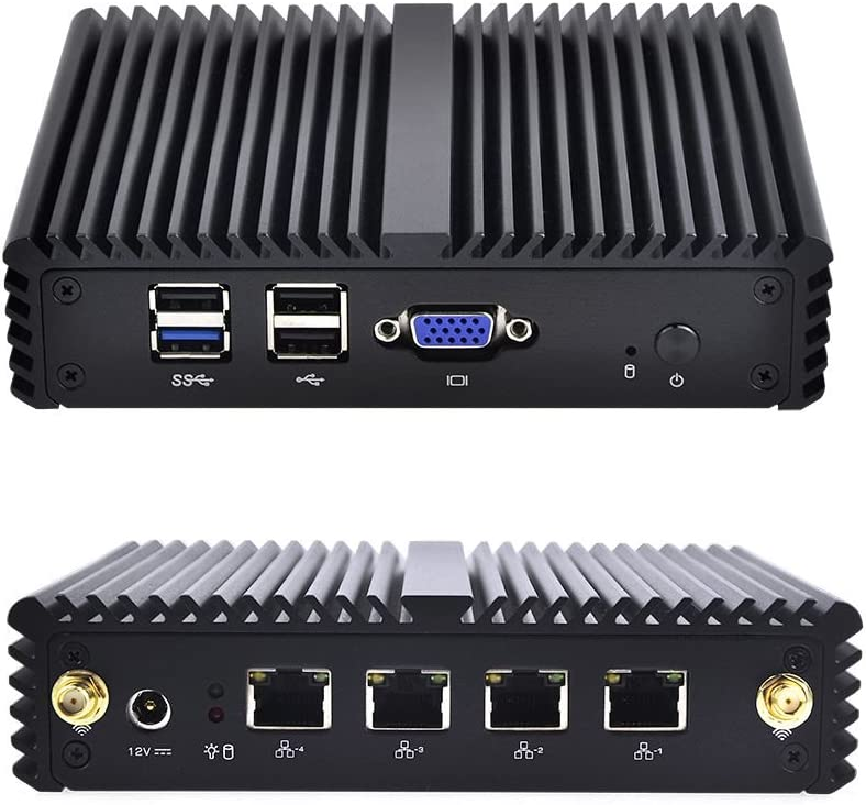 Qotom Mini PC with 8GB RAM 64GB SSD, 4 Intel LAN Port, VGA, 4 USB Port, celeron j1900 Processor Quad core 2 GHz, Fanless Mini PC j1900