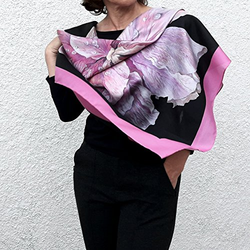 Large Square Silk Scarf Artisic Hand Painted and Printed Summer Shawl Black Pink Floral Rose Big Designer Wrap Wedding Mother Bridesmaid Birthday Women Gift