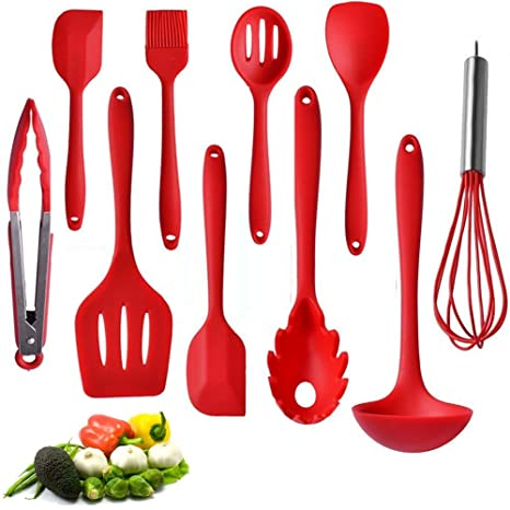 kitchen utensil set 10 best silicone cooking utensils with natural hard wood handle nonstick - Best Kitchen Utensils