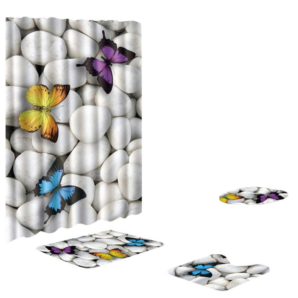 Underwater World Shower Curtain Shower Mat Set 4 Toilet Cover Bathroom Base Carpet + Cover Toilet Cover + Shower Mat Mildew-Proof Shower Curtain