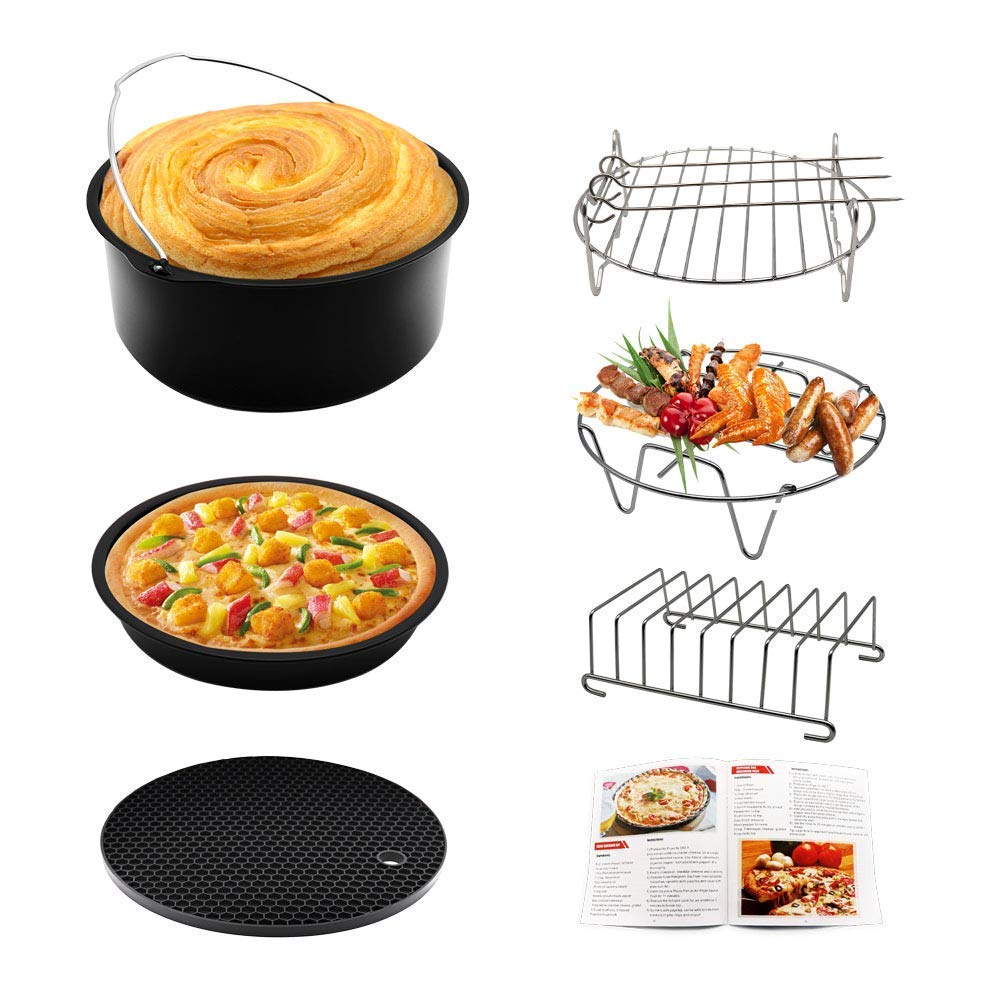Air Fryer Accessories 7.5 inch Set of 10 Deep Fryer for Gowise Phillips and Cozyna with Non-stick Coating Fit all 3.7QT – 5.8QT Black, 7.5inch