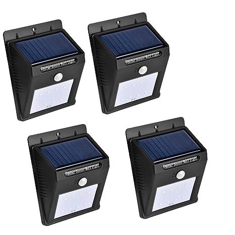 ConPush Luces Solares Impermeable Infrarrojo Sensor de Movimiento Luces Al Aire Libre para Jardín, Patio