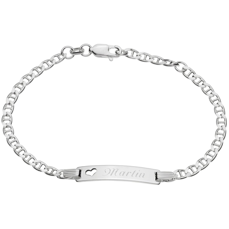 925/- Sterling-Silber Damen Mädchen ID Armband mit Herz 16 cm / 18 cm mit Wunsch-Gravur Cadenis 84-314-18-GR
