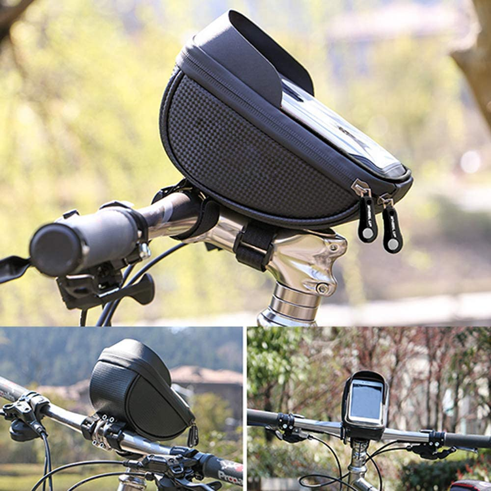 """Cycling Waterproof Front Frame Top Tube Handlebar Bag with Touch Screen Holder Case for Android//iPhone Cellphones Under 6.5/"""" Bike Phone Mount Bag"""