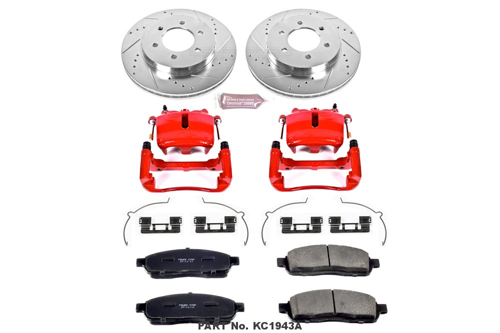 Front Only Power Stop KC1943A 1-Click Performance Brake Kit with Calipers