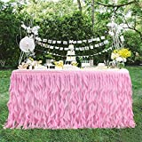 Leegleri 14ft Pink Curly Willow Table Skirt Tulle Table Skirt for Rectangle Table or Round Table,Tutu Table Skirt for Baby Shower,Wedding,Birthday Party Decoration (L 14(ft) H 30in)