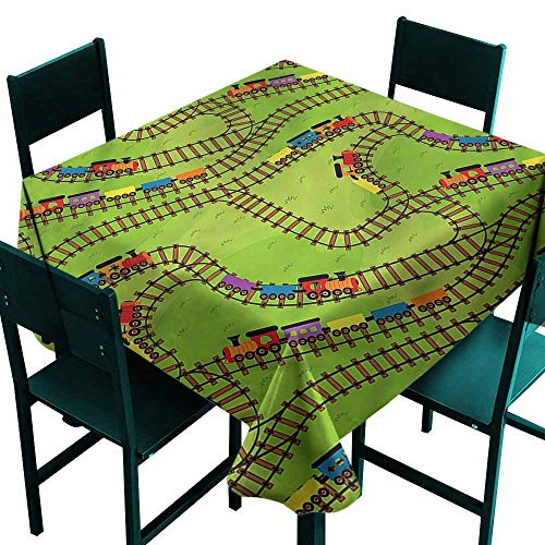 DONEECKL Easy Care Tablecloth Train Play Things Wagons on Road Great for Buffet Table W63 xL63 ()
