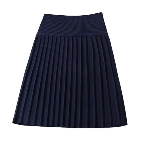 SaiDeng Mujeres De Casual Talle Alto Tricotado Faldas Plisadas Invierno Falda Armada L
