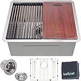 "leafloat Workstation Kitchen Sink 23 Inch, 23""x19""x10"", Single Bowl, Undermount, 16 Gauge T304 Stainless Steel, Satin Finish,"
