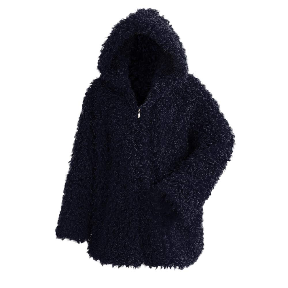 Clearance Sale FEDULK Winter Warm Women Hooded Faux Fur Solid Colour Open Front Cardigan Jacket(Navy,US Size S = Tag M)