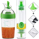 OPOLEMIN 2 Sets Dual Head Oil Bottle & Grips Salad Dressing Shaker for Kitchen Outdoor Travel BBQ Picnic Baking Salad Roasting Frying and Barbecue Grills, Green - with 2 Bonus Brushes, 1 Funnel
