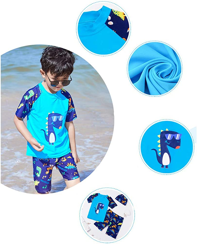 Achiyi Baby Toddler Boy Dinosaur Swim Set Kid Swimsuit Boy Two Pieces Swimwear Rash Guard Bathing Suits Sun Protection UPF50+