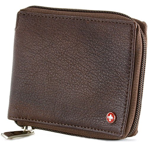 Leather Genuine Wallet Zippered (Alpine Swiss Zippered Bifold Men's Wallet with Deluxe Credit Card Flip Genuine Leather Antique Brown)
