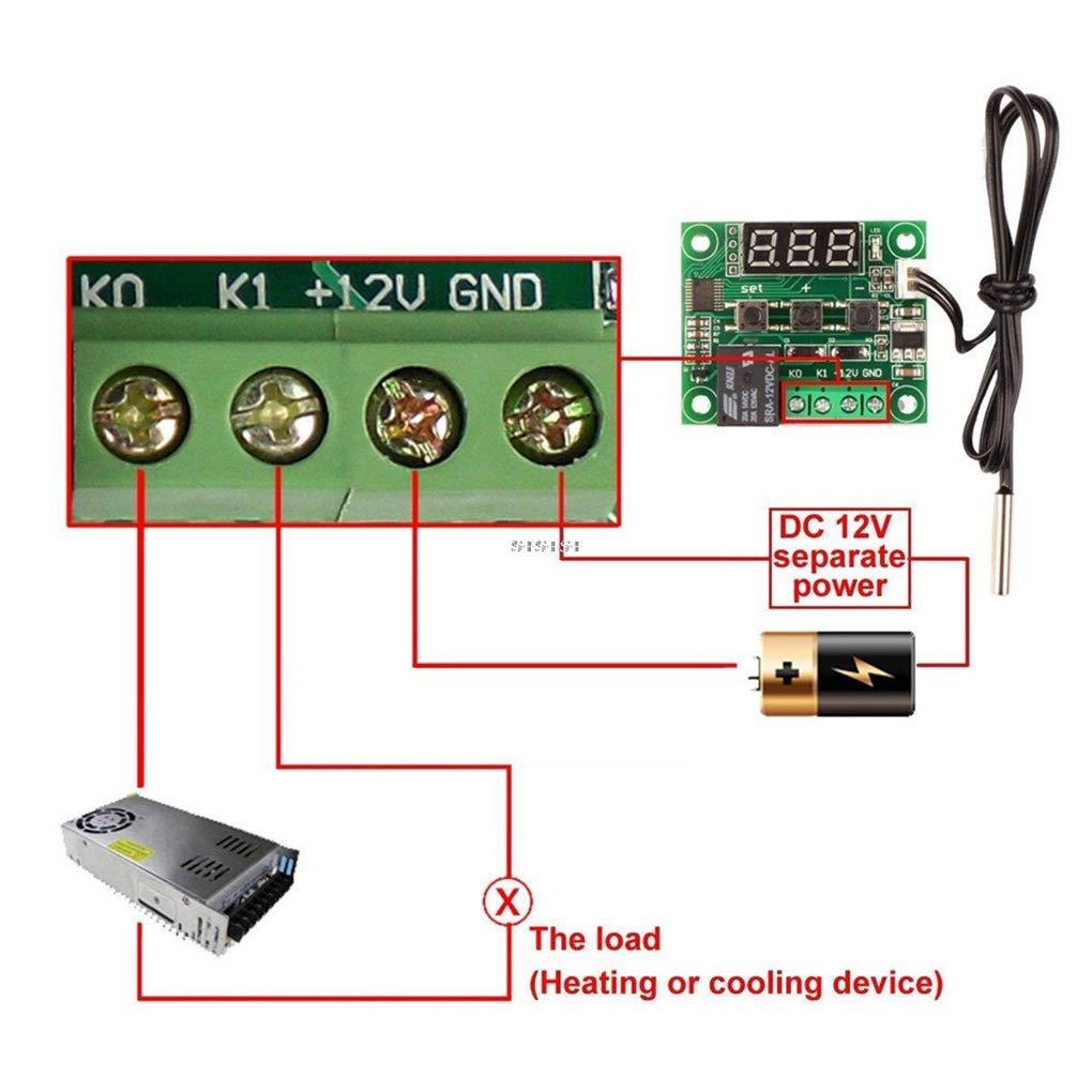 50-110 /° C Red W1209 Digital del termostato di Controllo della Temperatura Interruttore del sensore 12V Temperature Controller Lorjoyx Termometro