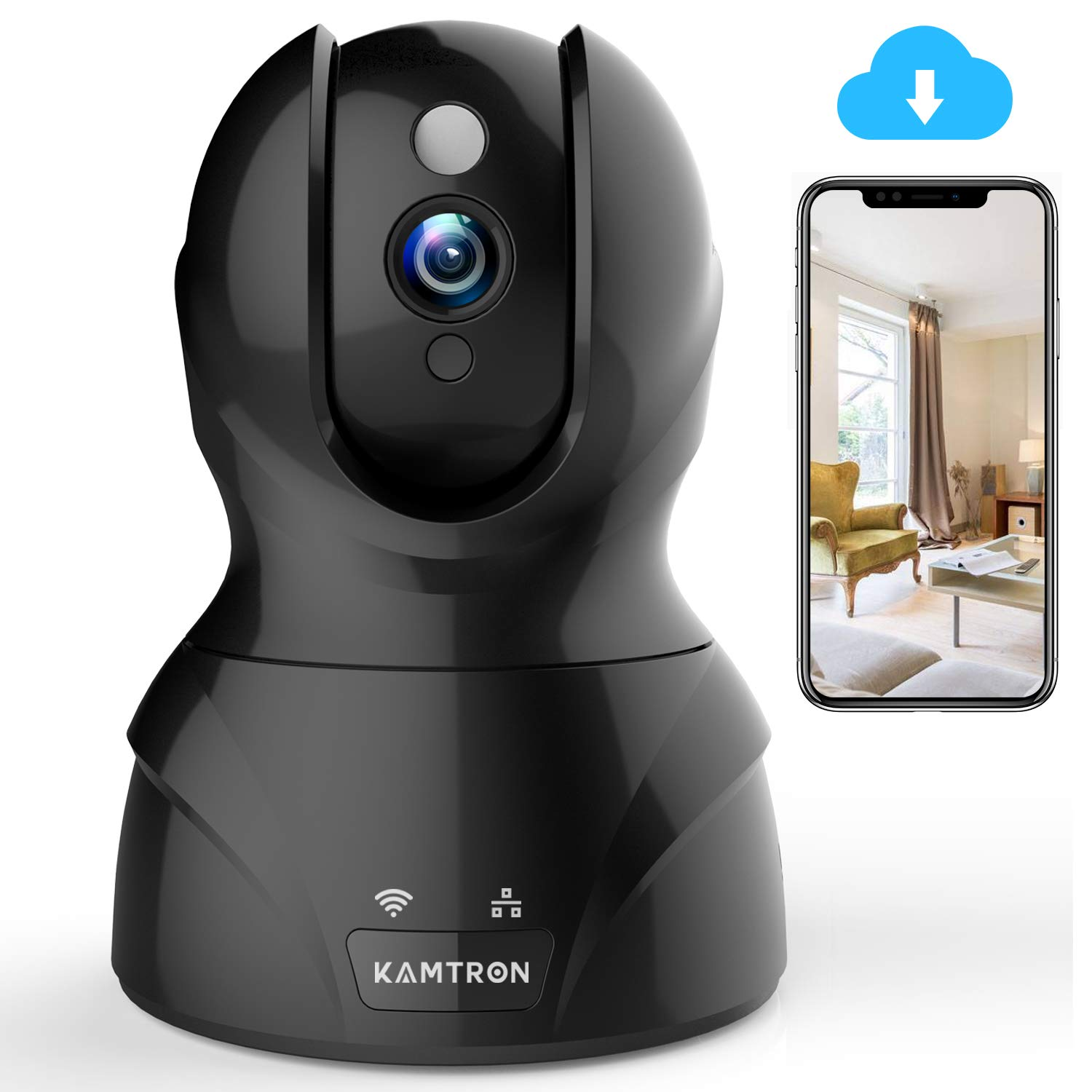 Wireless Security Camera with Two-way Audio - KAMTRON 1080P HD WiFi Security Surveillance IP Camera Home Baby Monitor with Motion Detection Night Vision, Black by KAMTRON