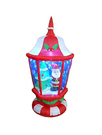 6 foot tall lighted christmas inflatable lantern with santa and tree leds yard decoration - Lighted Plastic Christmas Yard Decorations