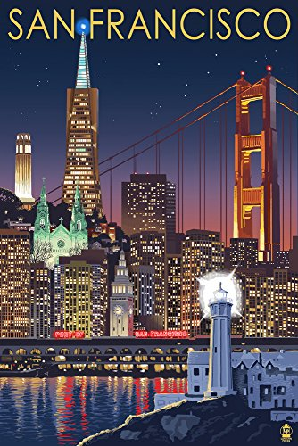 San Francisco, California - Skyline at Night (12x18 SIGNED Print Master Art Print w/ Certificate of Authenticity - Wall Decor Travel - Center Hours Francisco San