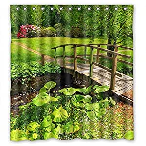 Attractive Trees And Bridge Personalized Fabric Shower Curtain 66(W)X72(H)