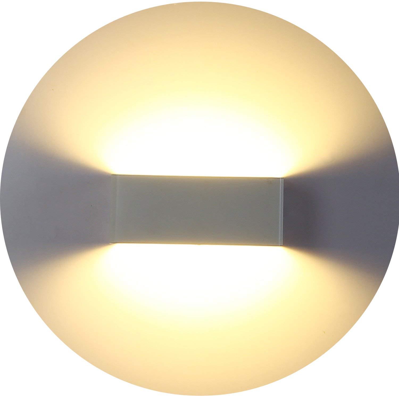 Topmo 7W LED Wall Light White Aluminum walTopmo 7W LED Wall Light White Aluminum Wall lamp with Bulb Warm White 3000KB Walllight for Corridor Indoor 20 10 8CM