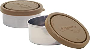 Kids Konserve Small Leak Proof Stainless Steel Round Food Containers, Mud, Set of 2