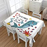 MartinDecor Narwhal Patterned Tablecloth Colorful Narwhal Swimming with the School of Fish Unicorn of the Sea Inscription Dust-proof Oblong Tablecloth Multicolor 60''x84''