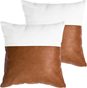HOMFINER Decorative Throw Pillow Covers 20x20, Set of 2 Faux Leather and 100% Cotton Square Cushion Cases for Couch Bed Sofa Modern Boho Farmhouse Home Decor Cognac Brown White Accent