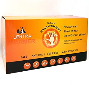 Hot Hand Warmers 10 Hours - 80 Count - Long Lasting Natural Safe and Odorless Single Use Air Activated Heat Packs for Hands, Toes and Body, Up to 10 Hours of Heat - TSA Approved