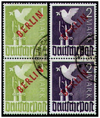 Goldhahn Berlin Nr. 33+34 gestempelt als Paare geprüft Schlegel - Briefmarken für Sammler