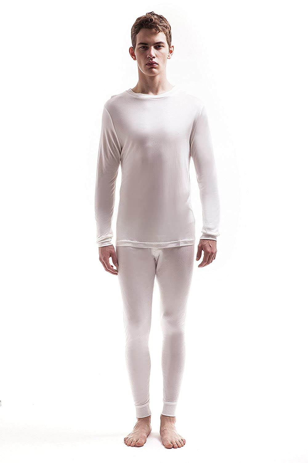 Jasmine Silk Men's Round Neck Pure Silk Thermal Long Sleeves Top Ivory