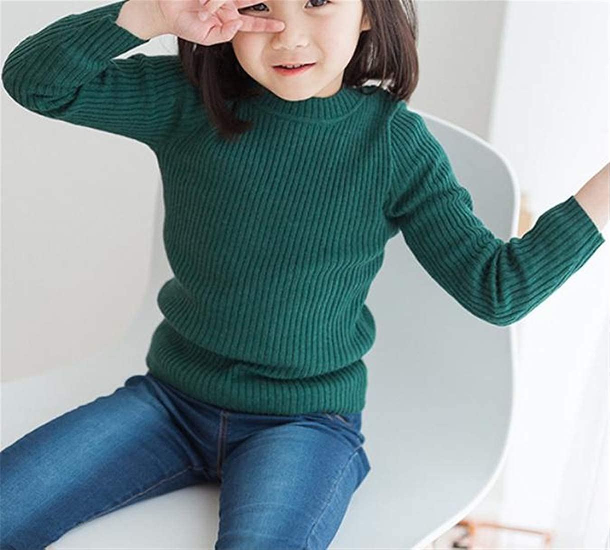 pipigo Boy and Girl Fall Winter Knitwear Pure Color Pullover Jumper Sweater