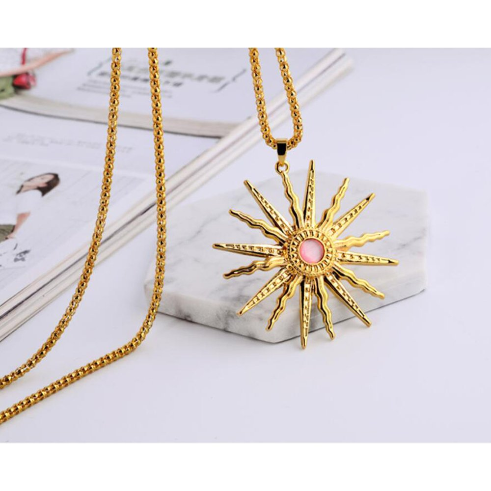 St.Ushine Classic Sun God Crystal Gold Plated Long Sweater Chain Pendant Necklaces for Women Girl Gift (Sun God- Champagne Gold with Pink) by St.Ushine (Image #3)