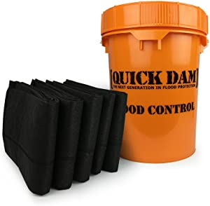 Quick Dam Grab & Go Flood Kit includes 5- 10ft Flood Barriers in Bucket